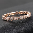 Art Deco Antique Diamonds 14K Rose Gold Wedding Anniversary Eternity Band Ring