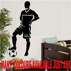 LARGE FOOTBALLER + NAME & NUMBER FOOTBALL WALL ART  BEDROOM STICKER 550X1000MM