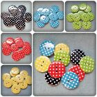 10 x 2-Hole Resin Buttons - Round - 23mm - Polka Dot [Various Colours Available]