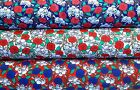 Polycotton Fabric Skulls Pirate Gothic Blooming Roses Red Blue White 3 colours