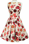 LADY VINTAGE HEPBURN Cream Cupcake Print  TEA DRESS 1950s Retro Style SIZE 8-22