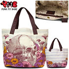 Loungefly Skull with Flowers Bag Pretty Macabre Tote Shopper Handbag Punk Goth