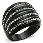 Women's Black Stainless Steel Black Crystal Dome Fashion Ring Size 5, 6