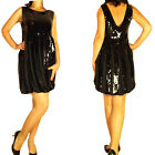 $834 See by Chloe Black Glimmer Sequin Mini Sexy LBD Dress V-Back IT38 40/ 2 4 6