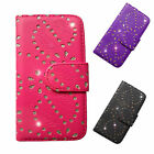 Bling Jewel Pu leather wallet case cover for iphone 4 4s & Screen Protector