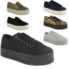 WOMENS LADIES SLIP ON FLAT PLIMSOLLS SNEAKERS PUMPS SKATER LACE UP PUMPS SHOES