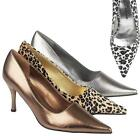 LADIES HIGH HEELS SHOES WOMENS SEXY LEOPARD PARTY EVENING OFFICE COURT SHOE SIZE