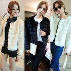 Women Sweet Party Crewneck Warm Winter Jacket Full Faux Fur Coat Top-Cropped Hot