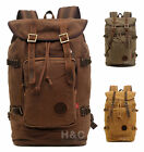 Travel Canvas with Leather Backpack Outdoor Sports Camping Hiking School Bag