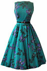 Lady Vintage Audrey Hepburn Teal Green Butterfly Dress 1950s Style SIZE 8-28