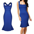 Women's Fashion Square Neck Sleeveless Party Dress Ladies Pencil Dress