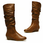 Ladies Womens Wedge Heel Knee Calf Winter Riding Slouch Zip Fur Boots Shoes Size