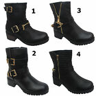Womens Flat Biker Ankle Boots Gold Zip Buckle Faux Leather Ladies Shoes Size 3-8