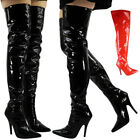 WOMENS LADIES THIGH HIGH STILETTO HEEL FETISH GOING OUT PUMPS BOOTS SHOES SIZE