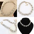 Statement Bib Chunky Charm Choker Necklace Crystal Gold/Silver  Flower Pendant