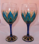 Flower Fairy Lotus Lily Wine Goblets Glasses Hippy Boho Gift Unique Handpainted