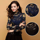 New Women Fashion Korean Lace Floral Slim Tops Long Sleeve T Shirt Blouse Sexy