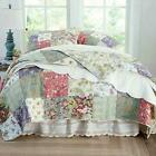 COZY SOFT PATCHWORK COUNTRY VINTAGE IVORY PINK FLORAL ROSE GREEN BLUE QUILT SET image