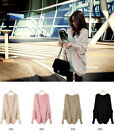 Women Warm Batwing Sleeve Cape Poncho Wool Knit Cardigan Sweater Coat Outwear
