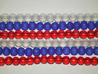 50 6mm Round Frosted Glass Beads in Red, White and Blue (BD16)
