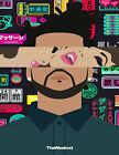 THE WEEKND cartoon colorful animated hot sexy singer photo glossy t-shirt