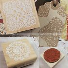 Wooden Rubber Stamps Square Lace Doily Pattern Craft Cards Scrapbooking