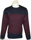 Relco Mens Mod Striped Naval Navy Blue Guernsey Knit Jumper Retro Anchor Buttons