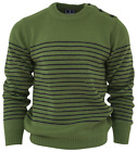 Relco Mens Mod Striped Naval Moss Green Guernsey Knit Jumper Retro Anchor Button