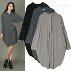 AnnaKastle Womens Mandarin Collar Slouchy Jersey Shirtdress size L - XL