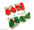 Festive Spotty Ribbon Bow Hair Clip Grip Slide Girls or Ladies Hair Accessory