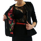 Black Quilted Peplum Jacket fully lined in red green floral satin 8 10 12 14