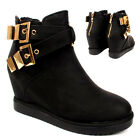 WOMENS LADIES ANKLE BUCKLE ZIP GOLD FLAT HI TOP WEDGE SHOES BOOTS SIZE UK 3-8