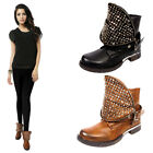 New Ladies Womens Buckle Studded Faux Leather Flat Heel Ankle Boots UK Size 3-8