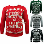 """Womens Mens """"Merry Christmas Ya Filthy Animal"""" Jumper Xmas Pullover Red Sweater"""