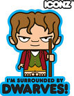 ICONZ CARTOON TEE SHIRT THE HOBBIT BILBO BAGGINS I'M SURROUNDED BY DWARVES