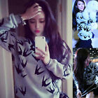 Fashion Europe Womens Flying Swallow Print Blouse Hoodie Sweat Sweatshirt