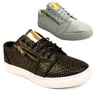 LADIES WOMENS GIRLS PATTERN METTALIC GOLD ZIP CASUAL TRAINERS SIZES 3 4 5 6 7 8