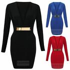 WOMENS PLUNGE V NECK GOLD BELTED LADIES MINI BODYCON PARTY LITTLE BLACK DRESS