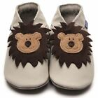 Inch Blue Baby Girls Boys Luxury Leather Soft Sole Pram Shoes - Leo Cream
