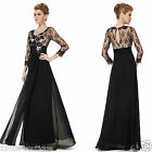 Lace 3/4 Sleeve Long Maxi Evening Prom Party Wedding Gown Formal Dress UK SELLER