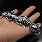 Men Heavy Silver Tiger Stainless Steel Cuff Bangle Bracelet 8.5