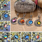 Colorful Galaxy Glass Hollow Moon Shape Pendant Silver Tone Necklace SA
