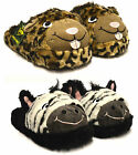 Womens Dunlop Creatures Boys Girls Novelty Soft Fur Warm Cosy Mule Slippers Size