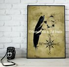 As the Crow Flies - Surreal Feather Bird  Matted Picture Fine Art Print A677