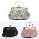 Antique Beaded Sequin Evening Bag Wedding Party Clutch Handbag Black Pink Silver