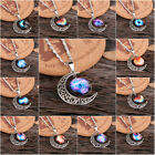Fancy Galaxy Cabochon Pendant Silver Tone Crescent Moon Necklace Woman Gift