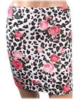 Liquor Brand Leo Rose Skirt Leopard Print Bodycon Party Mini Rockabilly Pin Up