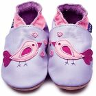Inch Blue Girls Baby Luxury Leather Soft Sole Pram Shoes - Bird D'amour Lilac