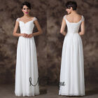 White Beaded Cap Sleeves Chiffon Prom Bridesmaid Wedding Maxi Dress Size AU6-20