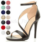 WOMENS LADIES HIGH HEEL ANKLE ASYMMETRIC CROSS STRAP ELEGANT PARTY SANDALS SIZE